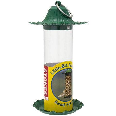 Stokes Select Little-Bit Bird Feeders Seed Feeder with Metal Roof, Green, .5 lb Seed Capacity