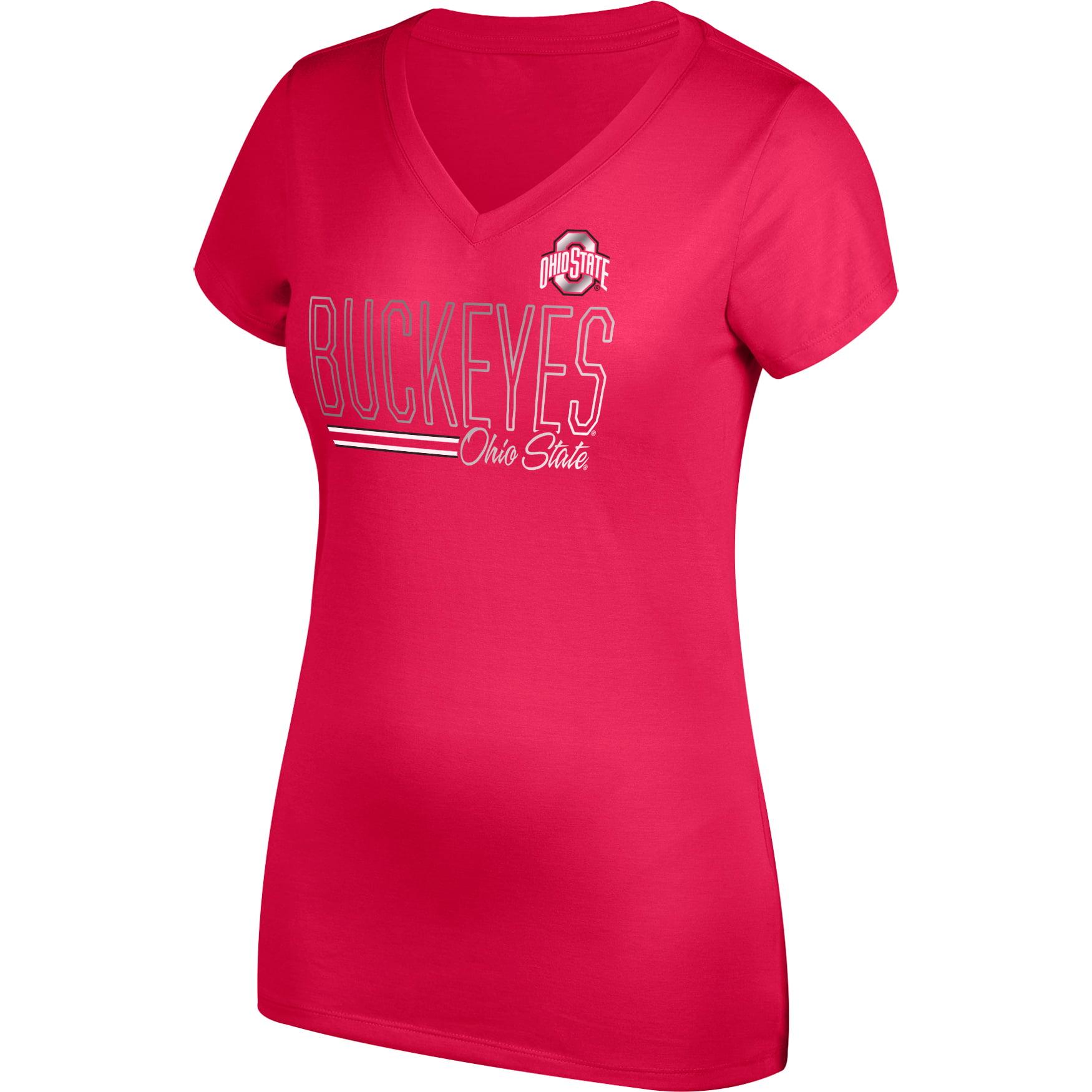 Women's Scarlet Ohio State Buckeyes Team Grand Slam V-Neck T-Shirt
