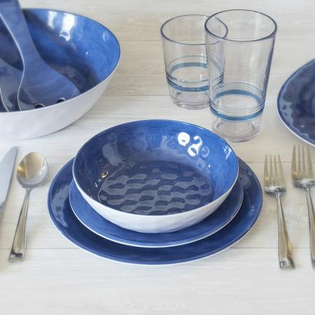 Better Homes & Gardens Outdoor Melamine Blue Anda Dinnerware Set, 12 Piece, Service for 4 ()
