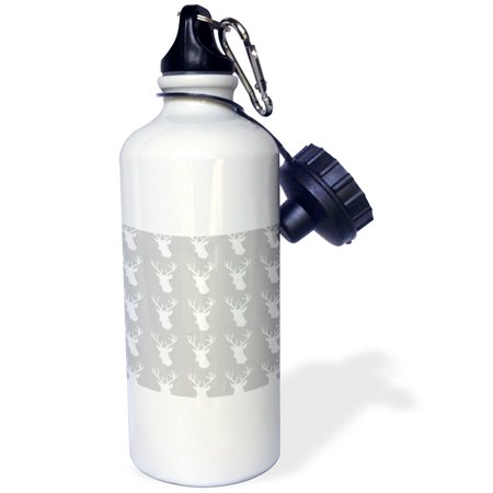 3dRose White deer head pattern on grey. Stag with antlers on gray silver, Sports Water Bottle, 21oz ()