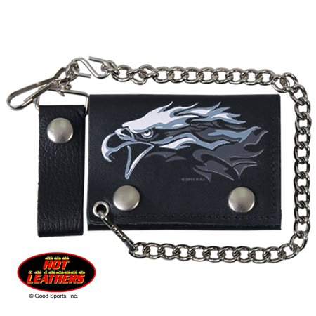 TRIBAL EAGLE, Detachable Chain & Leather Belt Loop Snap, Bikers Tri-Fold Leather WALLET