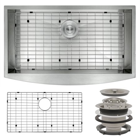 "Image of AKDY 30"" x 20"" x 9"" Stainless Apron Farmhouse Handmade Kitchen Sink w/ Dish Grid"