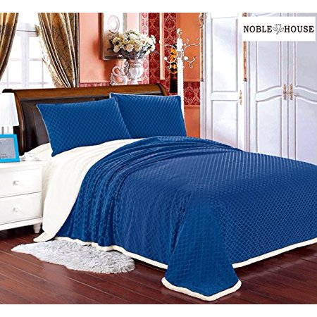 Luxurious Home Ultra Soft Reversible King Blanket with Sherpa Lining - Navy
