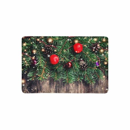 MKHERT Christmas Decorations Fir Tree Branches with Toys On Old Wood Doormat Rug Home Decor Floor Mat Bath Mat 23.6x15.7 inch ()