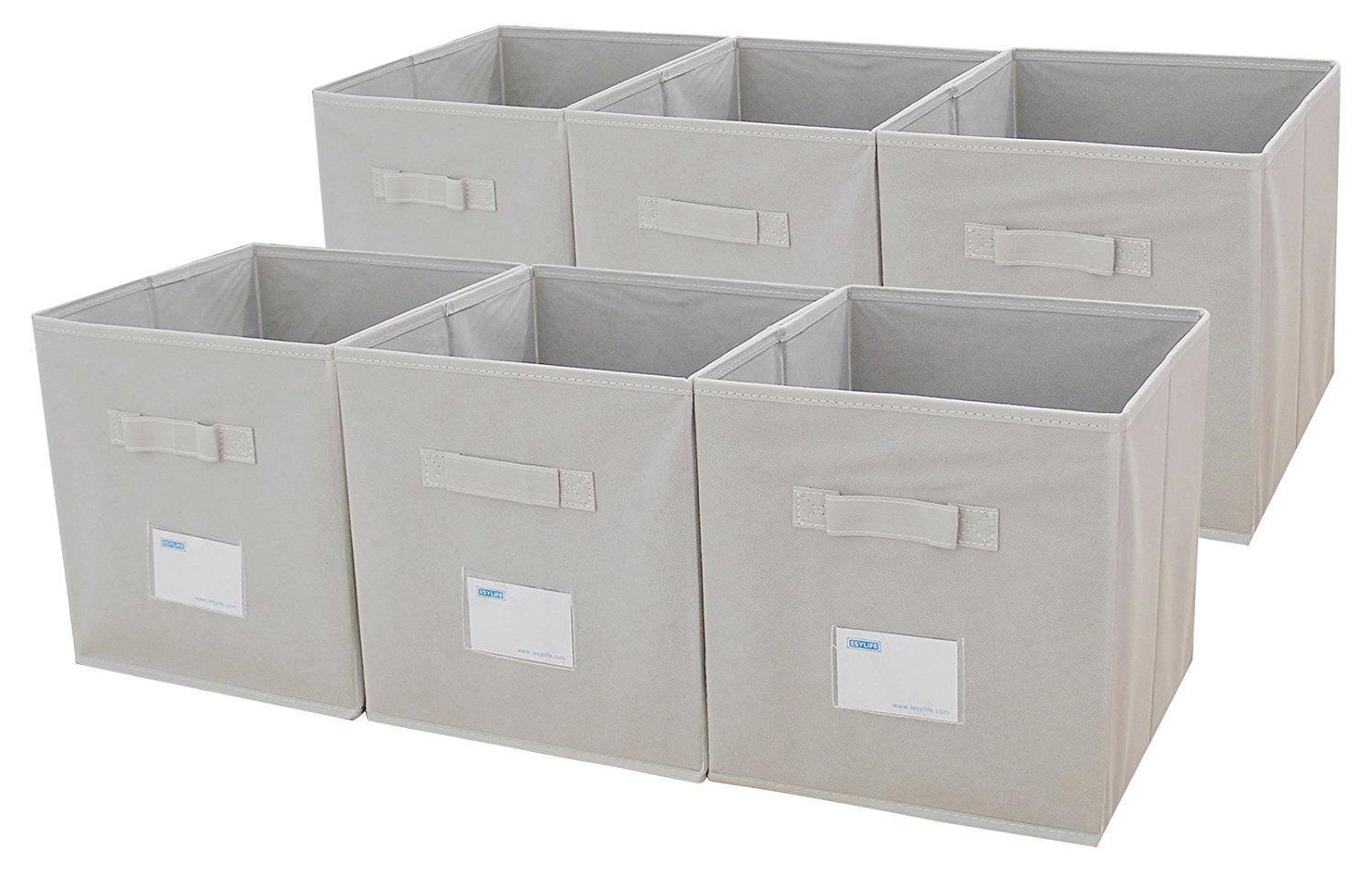 ESYLIFE Foldable Fabric Storage Cubes 6 Pack Cloth Storage Bins With Label  Holder,Beige
