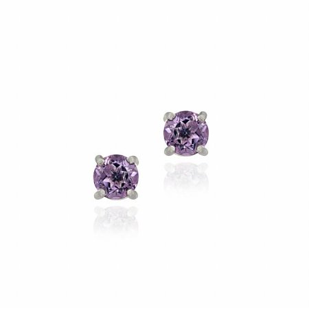 Glitzy Rocks  Sterling Silver Amethyst Stud Earrings](Silver Rock)