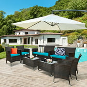 Costway 8PCS Rattan Patio Cushioned Sofa Chair Coffee Table Turquoise