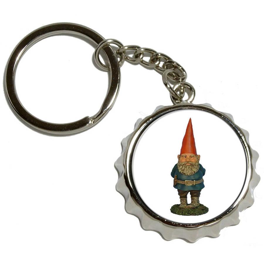 Garden Gnome Bottle Cap Opener Keychain Key Ring