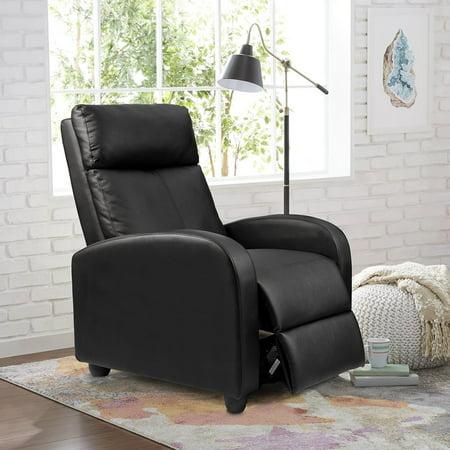 Single Recliner Chair Padded Seat Black Pu Leather Living Room Modern Sofa