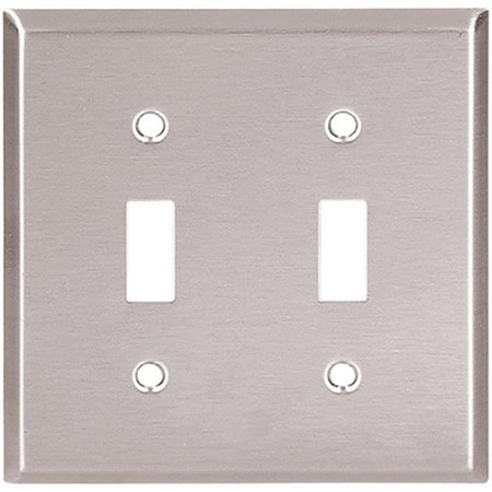 Cooper 93072 Stainless Steel Two Gang Toggle Light Switch Wall Plate