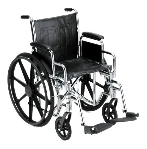 "NOVA Medical Products 18"" Steel Wheelchair w/Detachable Desk Arms & Swing Away Footrests"