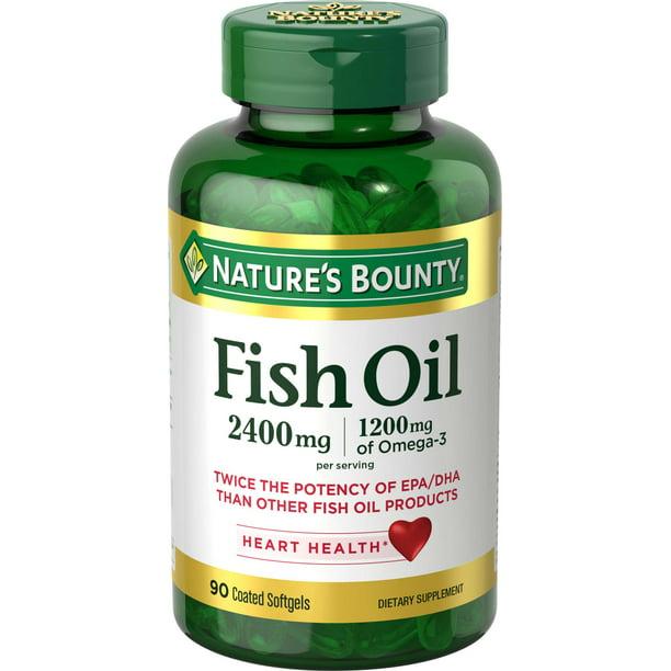 Nature's Bounty Fish Oil Omega-3 Softgels, 2400 Mg + 1200 Mg Omega-3, 90 Ct
