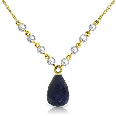 ALARRI 15.6 Carat 14K Solid Gold La Buena Vida Sapphire Diamond Necklace with 24 Inch Chain Length.
