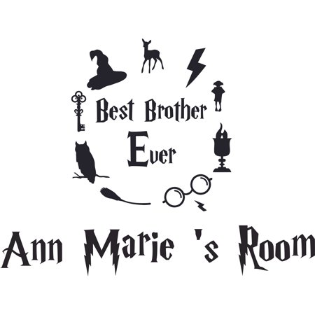 Best Brother Ever Harry Potter Customized Wall Decal - Custom Vinyl Wall Art - Personalized Name - Baby Girls Boys Kids Bedroom Wall Decal Room Decor Wall Stickers Decoration Size (30x30 (Best Toddler Boy Rooms)