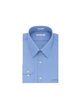 """Van Heusen Mens Poplin Button Up Dress Shirt, Blue, 17.5"""" Neck 36-37"""" Sleeve"""