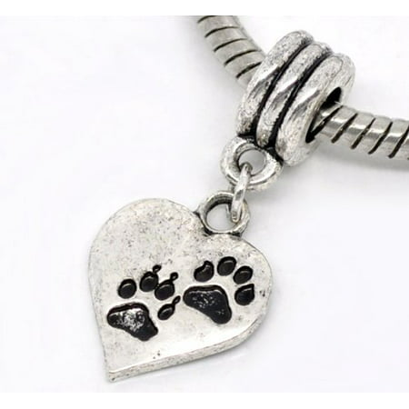 - Antique Silver Design Love Heart Dog Paw Dangle Charm Bead. Compatible With Most Pandora Style Charm Bracelets.