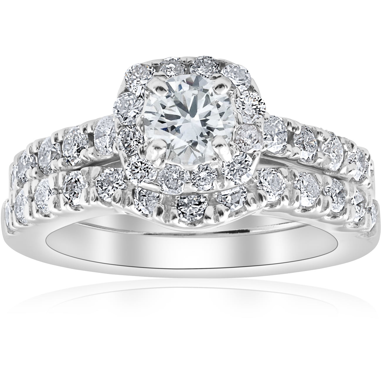 1 1 4ct Cushion Halo Diamond Engagement Matching Wedding Ring Set 14K White Gold by Pompeii3