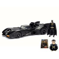 Diecast Car & Batman Figurine Package - 1989 Batmobile w/ Batman Figure, Black - Jada 98260 - 1/24 Scale Diecast Model Toy Car w/Batman Figurine