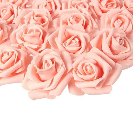 Rose Flower Heads - 100-Pack Stemless Artificial Roses, Perfect Wedding Decorations, Baby Showers, Crafts - Peach, 3 X 1.25 X 3 Inches Tone Rose Flower