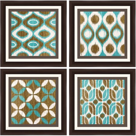teal and brown patterns wall art set of 4. Black Bedroom Furniture Sets. Home Design Ideas
