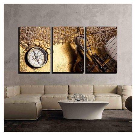 Wall26 3 Piece Canvas Wall Art Antique Brass Compass Over Old