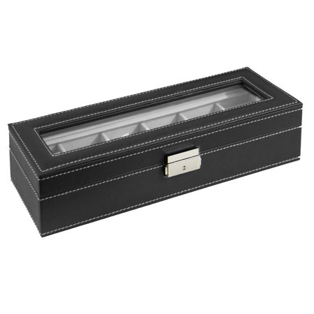 Black Watch Display Pads (Watch Box Large 6 Mens Black Leather Display Glass Top Jewelry Case Organizer)