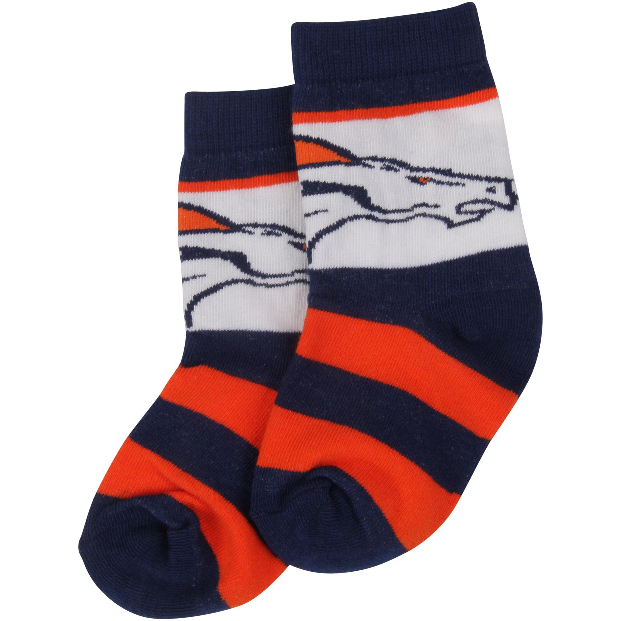 Denver Broncos For Bare Feet Toddler Rugby Block Socks - No Size