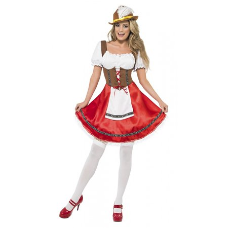 Mens Barbarian Costume (Bavarian Wench Adult Costume Brown and Red -)