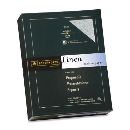 """Southworth 25% Cotton Fine Linen Business Paper - Letter - 8.50"""" x 11"""" - 24 lb Basis Weight - Recycled - 55% Recycled Co"""