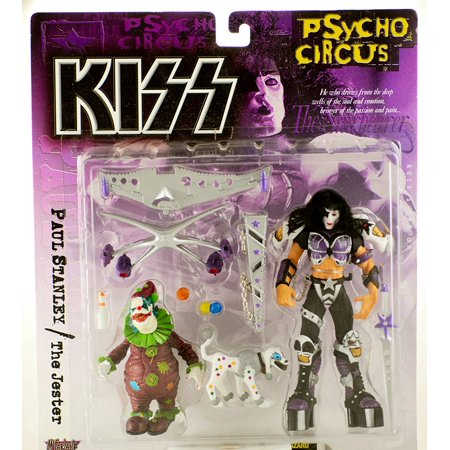 (Toys, KISS Psycho Circus, Paul Stanley and the Jester Action Figures, Includes: Peter Criss action figure, The Jester action figure, white dog.., By McFarlane)