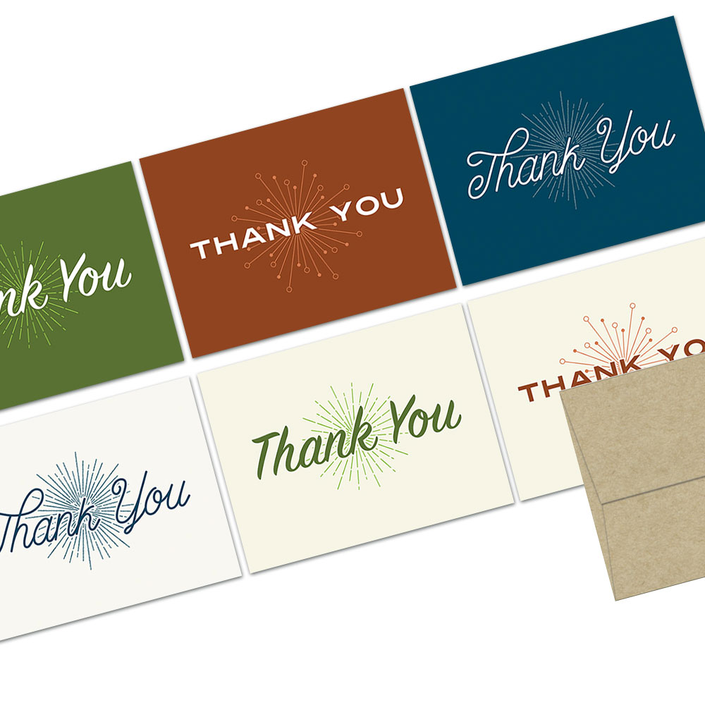 72 Thank You Note Cards - Retro Thank You - Blank Cards  - Kraft Envelopes Included