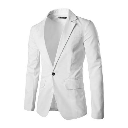 Tasharina Men's Classic Notch Lapel Suiting Blazer (White Tweed Blazer)