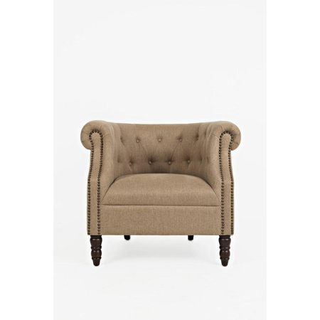 - Fabric Upholstered Accent Chair with Button Tufts, Chestnut Brown