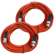 Seismic Audio  Pair of Red 50' XLR Male to Female Microphone Patch Cables (2 Pk) Red - SAXLX-50Red-2Pack