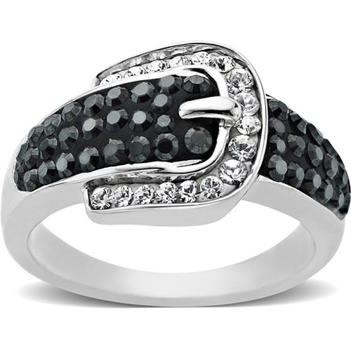 Luminesse Sterling Silver Black Buckle Ring made with Swarovski Elements