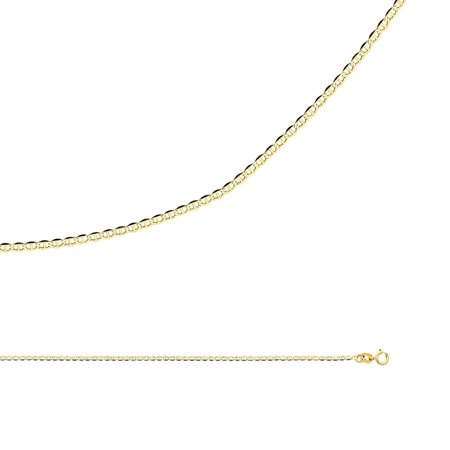 - Mariner Chain Solid 14k Yellow Gold Necklace Anchor Flat Link Thin Dainty Genuine, 1.4 mm - 16,18,20,22,24 inch