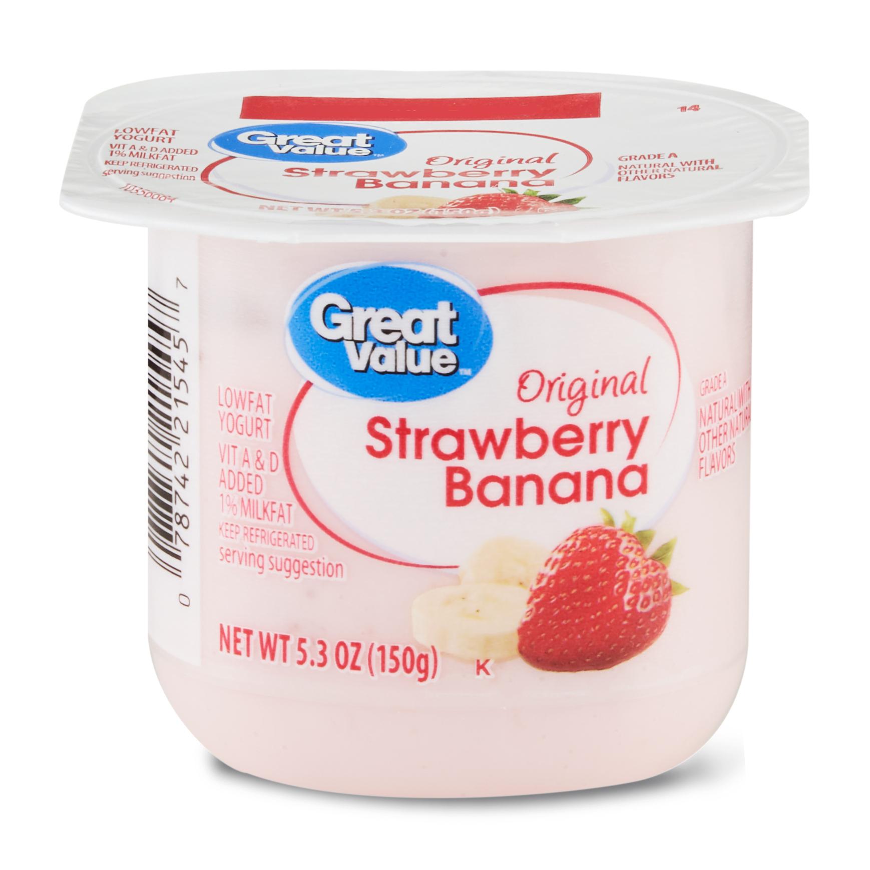 Great Value Original Strawberry Banana Lowfat Yogurt, 5.3 oz