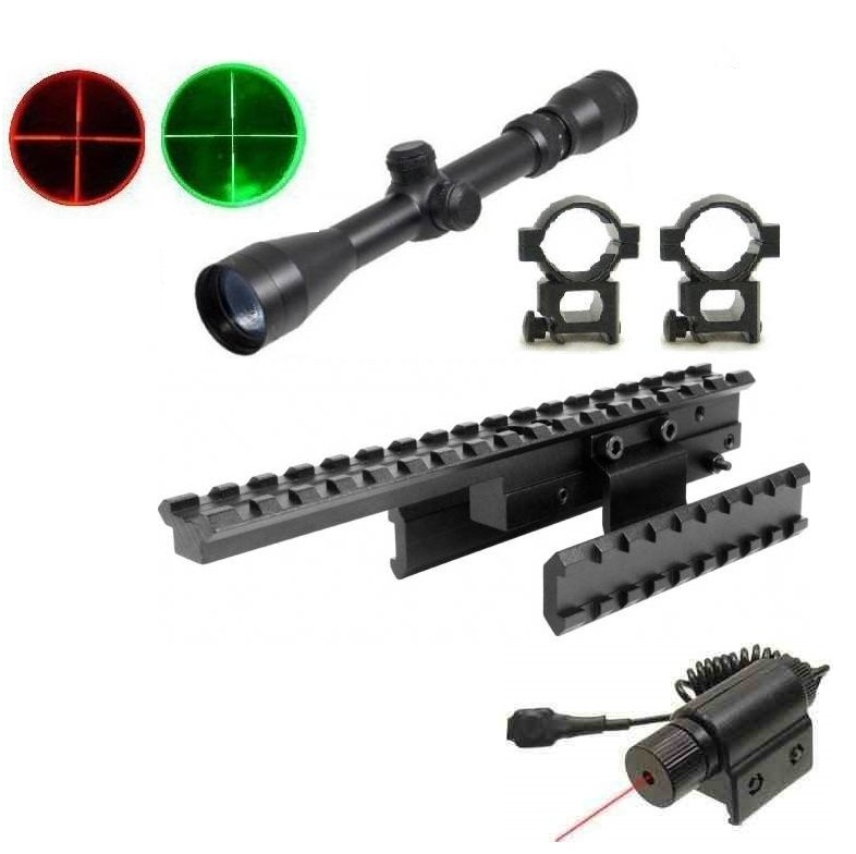 Ultimate Arms Gear Mosin Nagant Rifle Tri Rail Scope Sight Mount 91 30, M44, M38, M39 53 + Dual Red Green Illuminated... by