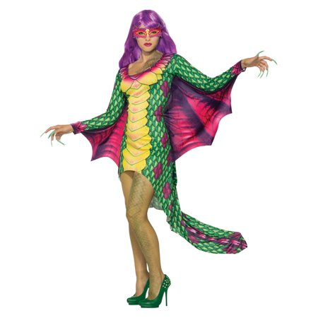 Womens Dazzling Dragon Dress W/Mask Costume Halloween Costume - Haloween Dress