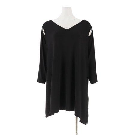- belle kim gravel knit top asymmetrical hem a307422