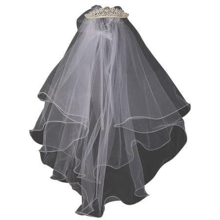 Rhinestone Pearl Comb Veil Tiara Wedding Holy First Communion Flower Girl Veil White (K0D26)