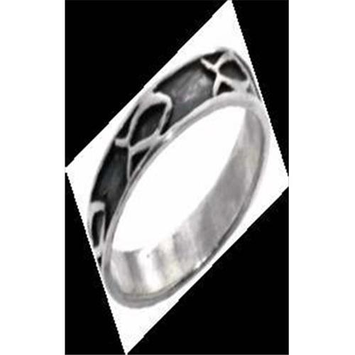 Ring-Ichthus w/Oxidized Background-Style 404A-Size 6