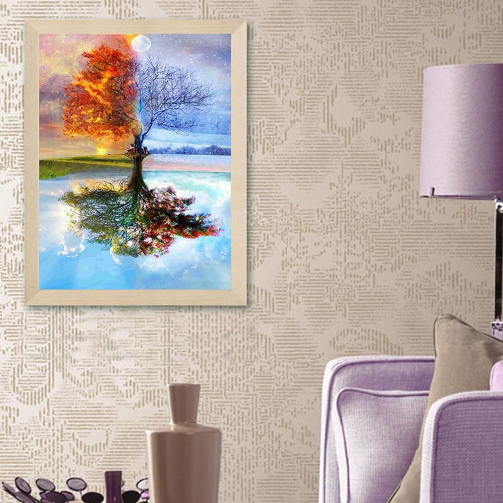 Girl12Queen 5D DIY Diamond Painting Magic Tree Reflection Pattern Home Office Room Decor