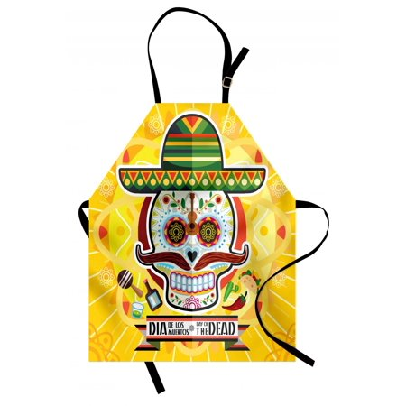 Day Of The Dead Apron Mexican Sugar Skull with Tacos and Chili Pepper November 2nd Colorful Art Print, Unisex Kitchen Bib Apron with Adjustable Neck for Cooking Baking Gardening, Yellow, by Ambesonne (Colorful Sugar Skull)