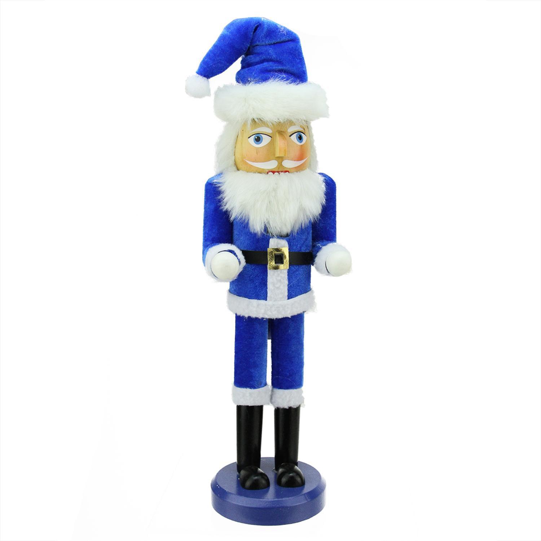 "14"" Decorative Blue and White Hanukkah Santa Wooden Holiday Nutcracker by Northlight"