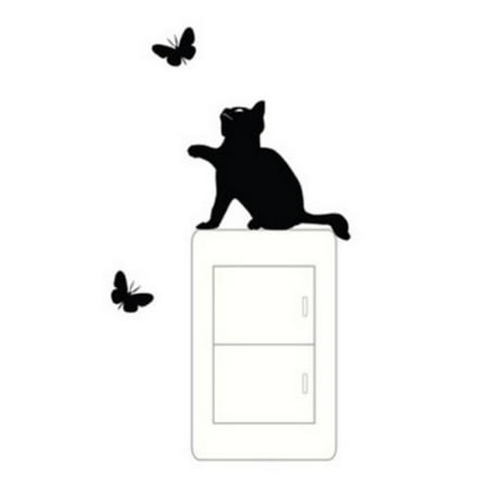 Environmental Butterfly Cat Background Wall Stickers Poster Paster Decals Wallpaper Bedroom Drawing Room Decor Walmart Canada