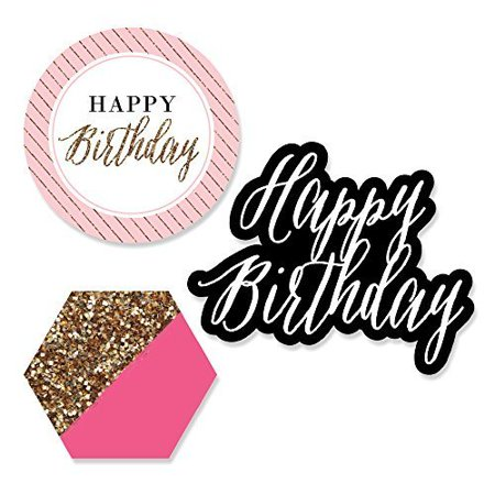 Chic Happy Birthday - DIY Shaped Party Cut-Outs -  24 Count - Happy Birthday Chica