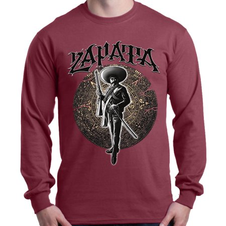 Shop4Ever Men's Zapata with Aztec Calendar Mexican Long Sleeve Shirt