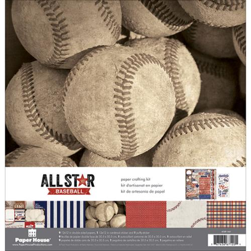 "Paper House Paper Crafting Kit 12""X12""-Baseball"