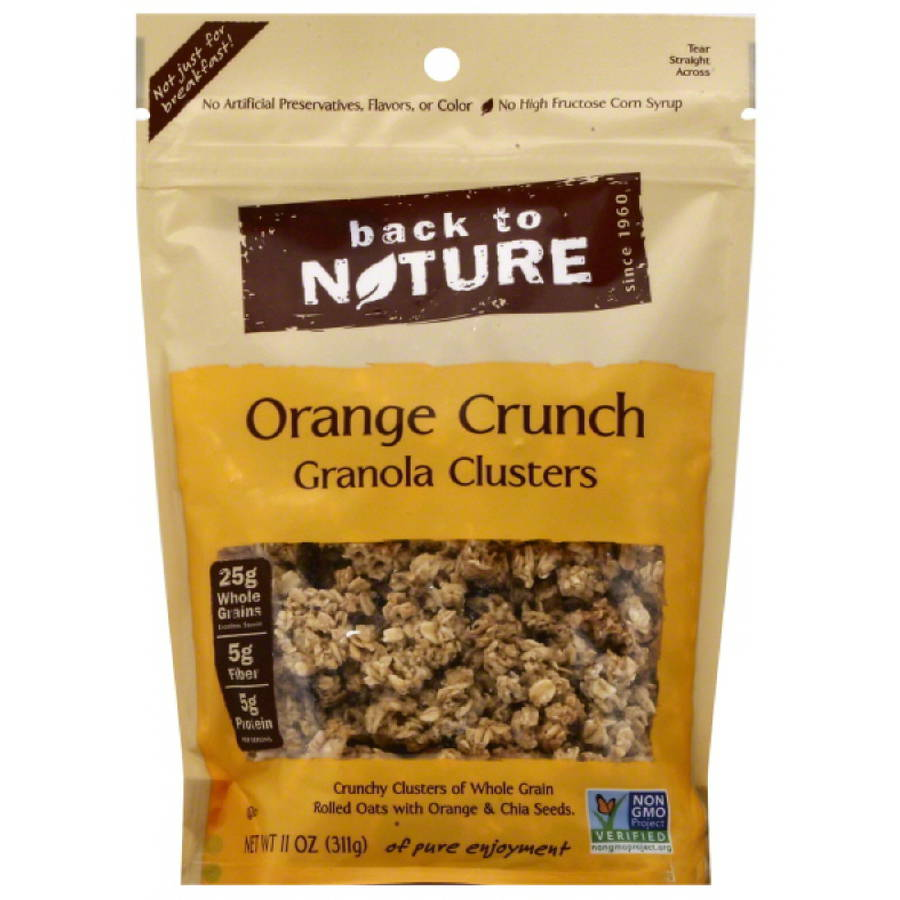 Back to Nature Orange Crunch Granola Clusters, 11 oz, (Pack of 6)
